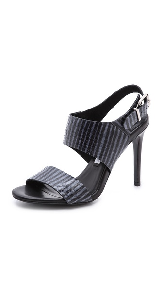 Acne Studios Tillie Snakeskin Sandals - Black/Blue at Shopbop / East Dane