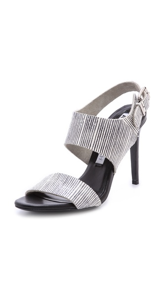 Acne Studios Tillie Snakeskin Sandals - Black/White at Shopbop / East Dane