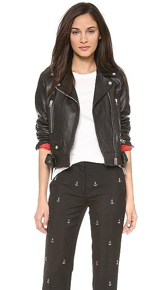 Acne Studios Shrunken Leather Moto Jacket with Denim Belt