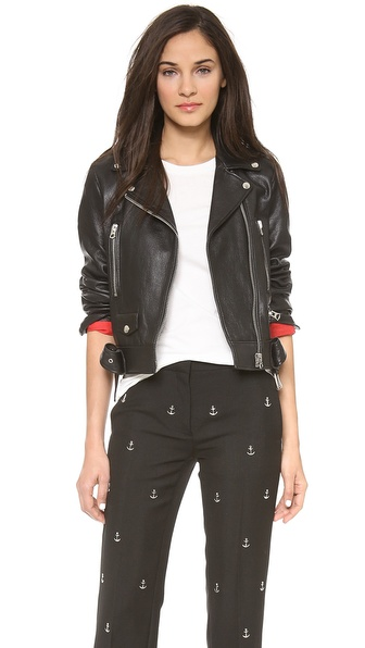 Acne Studios Shrunken Leather Moto Jacket With Denim Belt - Black at Shopbop / East Dane
