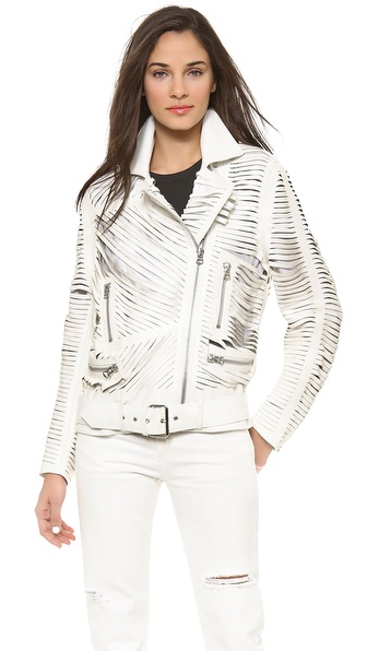 Acne Studios Shredded Leather Motorcyle Jacket - White at Shopbop / East Dane