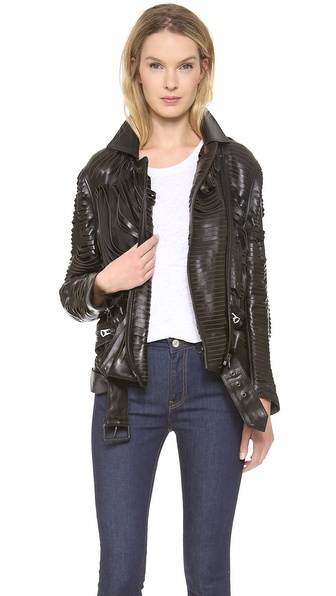 Acne Studios Shredded Leather Motorcyle Jacket - Black at Shopbop / East Dane