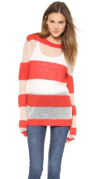 Acne Studios Octave Kid Sweater - Poppy Red/Sand Stripe at Shopbop / East Dane