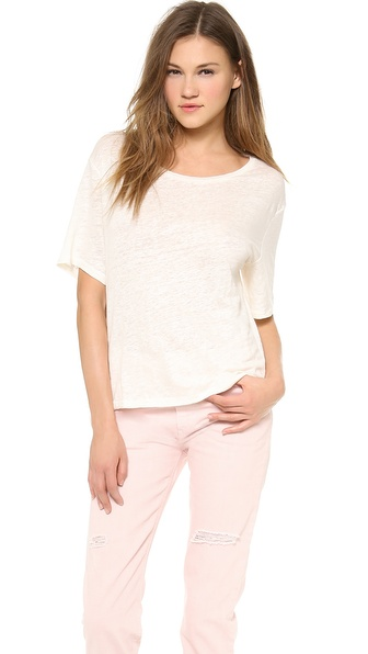 Acne Studios Boxy Linen Tee - Bone White at Shopbop / East Dane