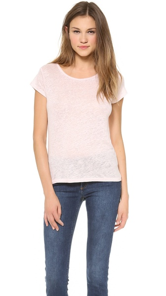 Acne Studios Cap Sleeve Linen Tee - Pale Pink at Shopbop / East Dane