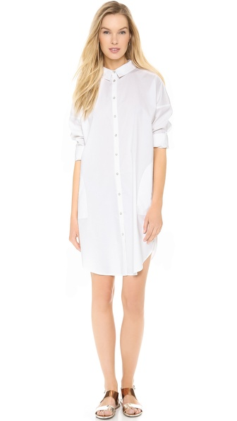 Acne Studios Lash Poplin Shirtdress - Paper White at Shopbop / East Dane