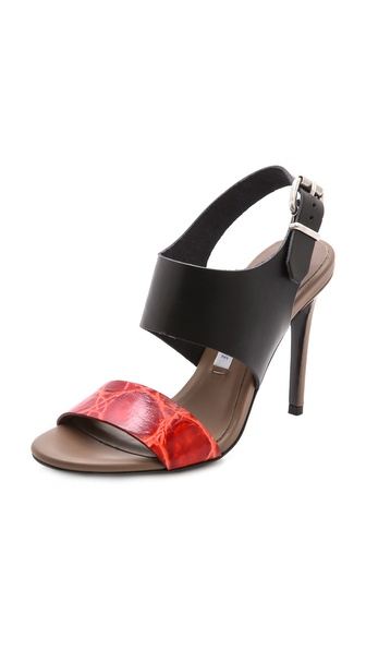 Acne Studios Tillie Sandals - Black/Khaki/Red at Shopbop / East Dane