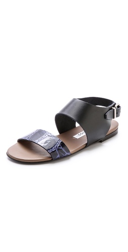 Shop Acne Studios online and buy Acne Studios Lottie Flat Sandals - Simple double-strap Acne Studios sandals make a chic impression with a hit of crinkled contrast leather. Buckled ankle strap. Nonslip rubber patch at leather sole.  Leather: Calfskin. Made in Italy. - Black/Khaki/Blue