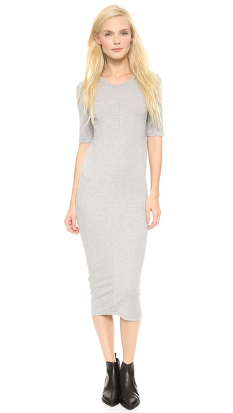 Shop Acne Studios online and buy Acne Studios Visit Jersey Dress Grey Melange - A slim, cocoon style Acne Studios pullover dress in soft ponte jersey. Center seams bisect the front and back panels. Crew neckline. Elbow length sleeves. Unlined. Fabric: Soft ponte jersey. 87% viscose/10% nylon/3% elastane. Dry clean. Made in Portugal. Measurements Length: 45in / 114cm, from shoulder Measurements from size S. Available sizes: L,M,S,XS