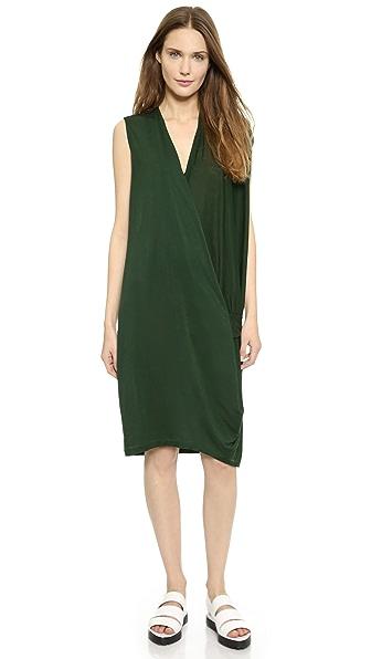 Acne Studios Natifa Tencel Draped Dress - Forest Green
