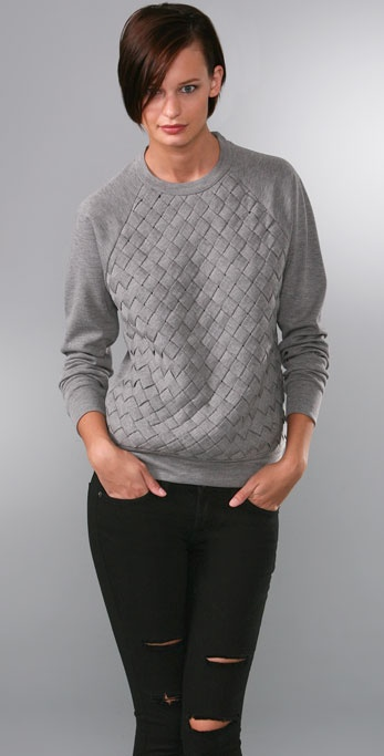 ADAM Long Sleeve Crew Top with Basket Weave