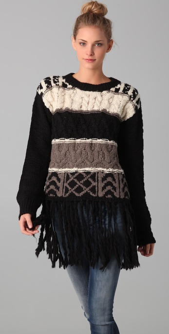 ADAM Intarsia Sweater with Fringe