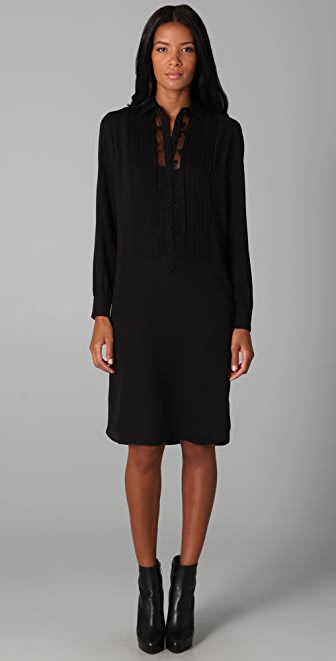 ADAM Pleated Shirtdress with Lace Back