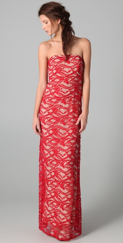 ADAM Strapless Lace Column Dress