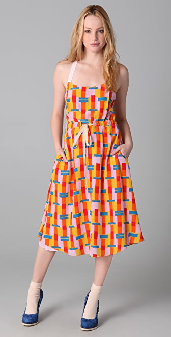 ADAM Bauhaus Block Print Dress with Tie