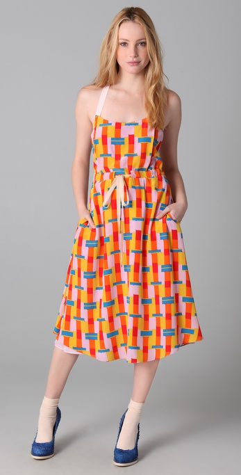 ADAM Bauhaus Block Print Dress with Tie