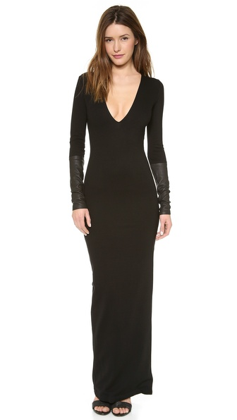 Ad Leather Trim Ponte Maxi Dress - Black at Shopbop / East Dane