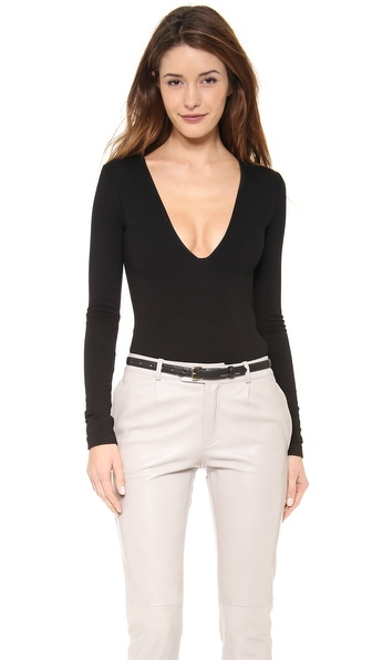 Ad V Neck Ponte Bodysuit - Black at Shopbop / East Dane