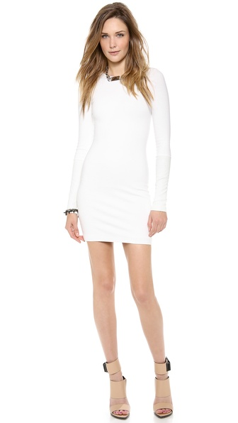 Ad Leather Detailed Ponte Dress - White at Shopbop / East Dane