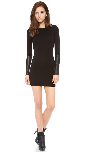 Ad Leather Detailed Ponte Dress - Black at Shopbop / East Dane