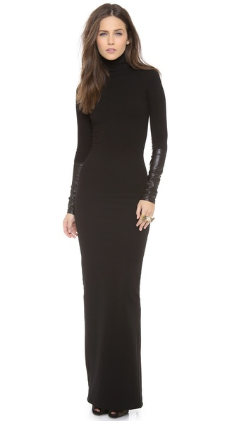 Ad Leather Detailed Ponte Maxi Dress - Black at Shopbop / East Dane