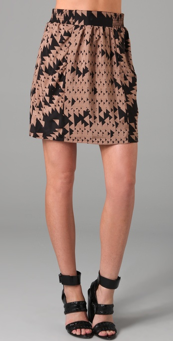 ADDISON Layered Triangle Print Skirt