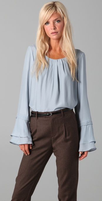ADDISON Tiered Ruffle Sleeve Blouse
