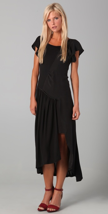 ADDISON Tee Dress with Leather Trim