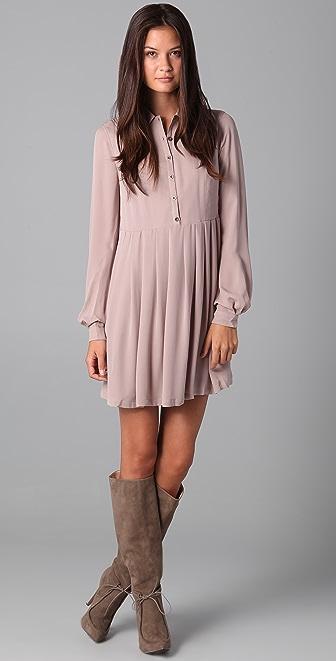 ADDISON Pleated Shirtdress