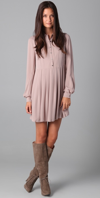 ADDISON Pleated Shirtdress