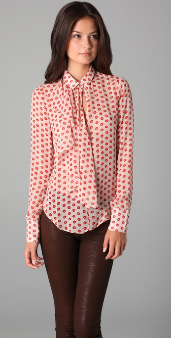 ADDISON Painted Dot Ruffle Blouse