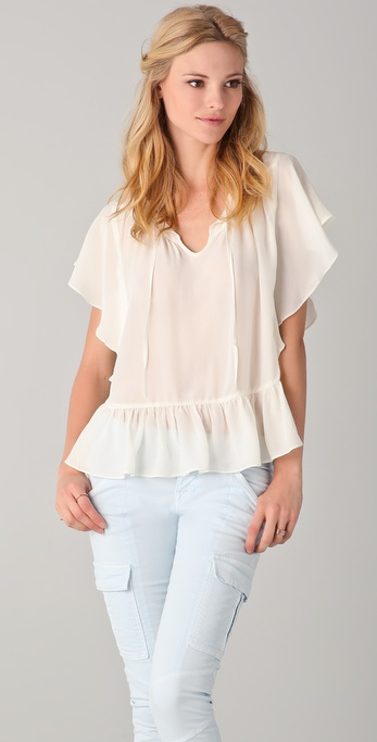 ADDISON Open Back Ruffle Top