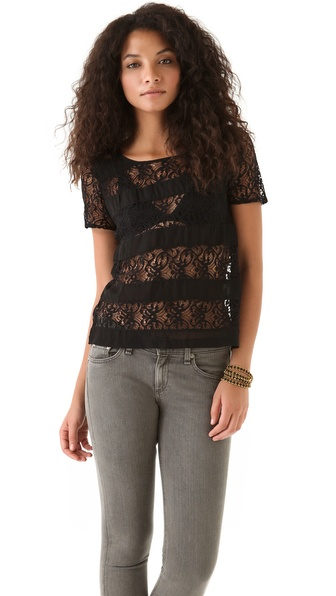 ADDISON Striped Lace Top