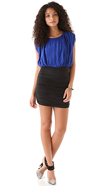 ADDISON Contrast Blouson Dress