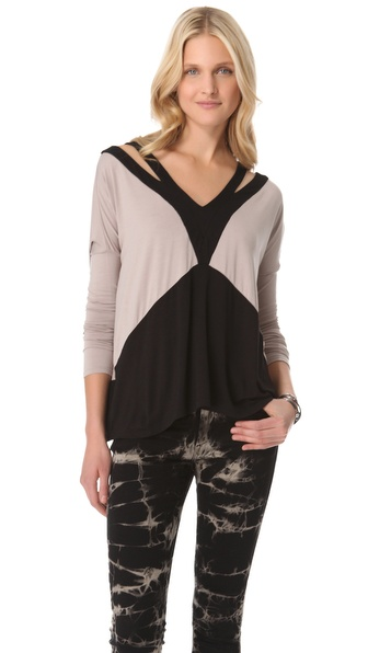 ADDISON V Neck Cutout Top