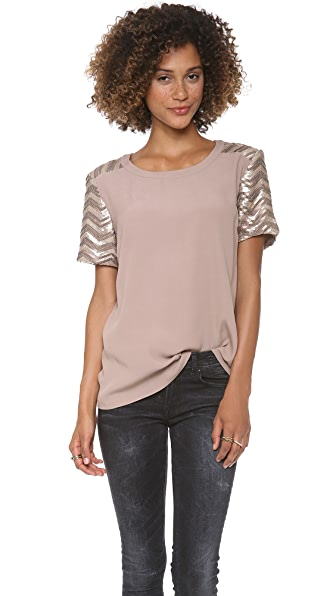 ADDISON Tesla Sequined Sleeve Top