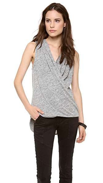 ADDISON Luna Draped V Neck Top