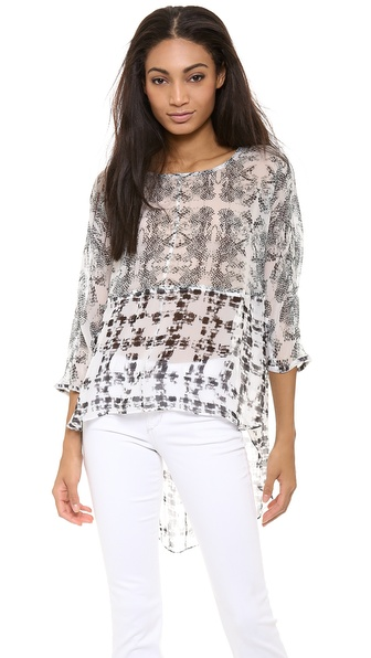 Addison Kirby Mixed Media Batwing Top - Swan Combo at Shopbop / East Dane