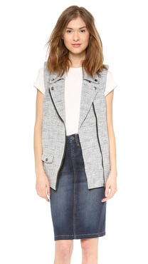 ADDISON Alexa Tweed Moto Vest