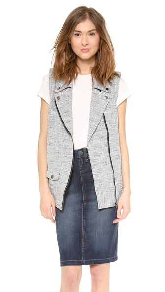 Addison Alexa Tweed Moto Vest - Grey Combo at Shopbop / East Dane