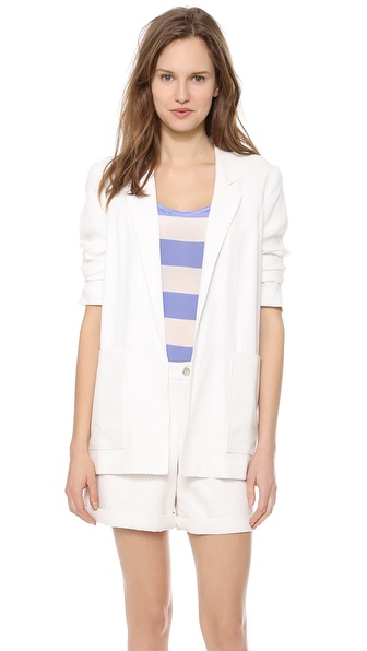 Addison Addison X We Wore What Sleek Boyfriend Blazer - White at Shopbop / East Dane