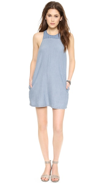 Addison Addison X We Wore What Angled Yoke Shift Dress - Chambray at Shopbop / East Dane