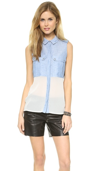 ADDISON Tabard Button Down Tank