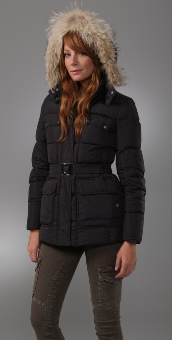 Add Down Gloss Puffer Jacket with Fur Trim