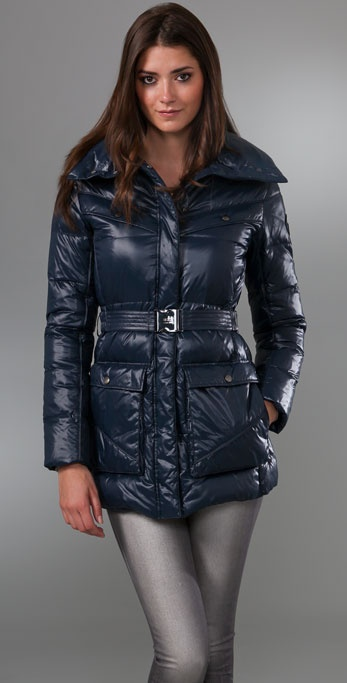Add Down Shiny Puffy Belted Coat