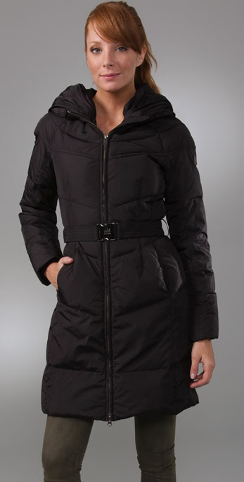 Add Down Gloss Hooded Puffer Coat