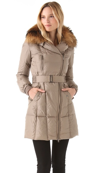 Add Down Coat with Fur Collar