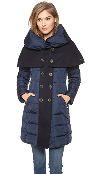 Add Down Down Coat with Wool Cape