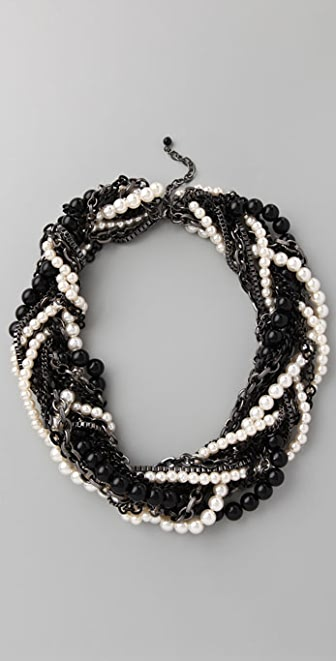 Adia Kibur Pearl & Gunmetal Chain Wrapped Necklace