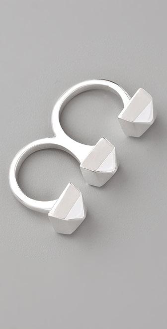 Adia Kibur 3 Studs Double Finger Ring